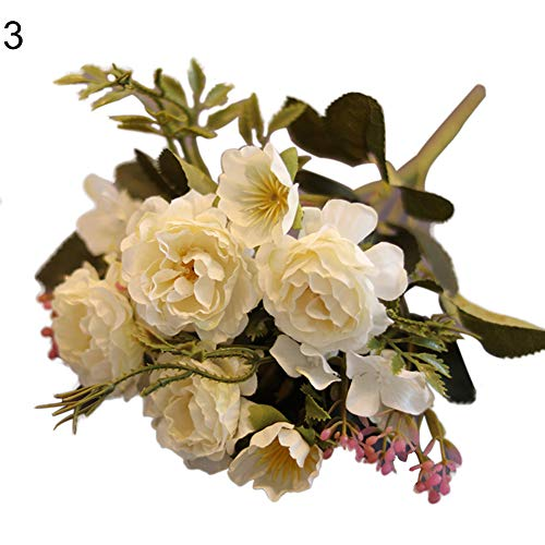 (Shangwelluk Fake Flowers Vintage Artificial Peony Silk Flowers Wedding Home Decoration 1 Bouquet 10 Heads (White))