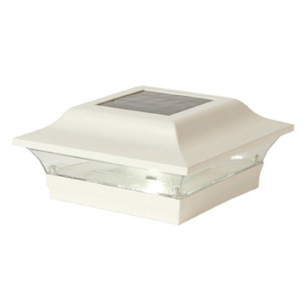 Classy Caps SL214W Aluminum Imperial Solar Post Cap, 5'' x 5'', White