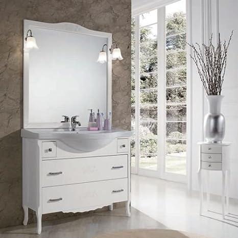 Badezimmer Shabby Chic weiß matt mit Schubladen mit Dekor ...