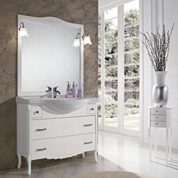Badezimmer Shabby Chic weiß matt mit Schubladen mit Dekor Blume ...