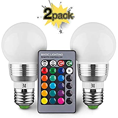 KOBRA LED Bulb Color Changing Light Bulb with Remote Control (2 Pack)16 Different Color Choices Smooth, Flash or Strobe Mode- Premium Quality & Energy Saving Retro LED Lamp
