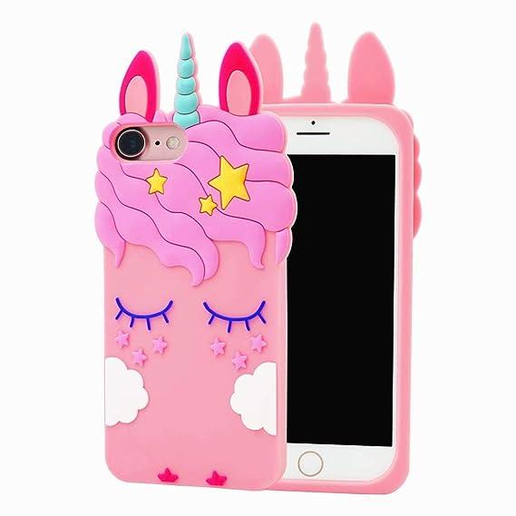 Amazon.com: iPhone 7 Funda de silicona 3d Cartoon Animales ...