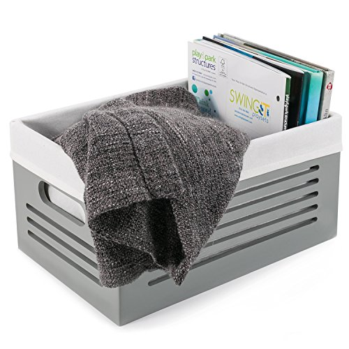 Wooden Storage Box - Decorative Closet, Cabinet and Shelf Basket Organizer Lined With Machine Washable Soft Linen Fabric - Gray, Medium - By Creative Scents (Linen Closet Cabinets)