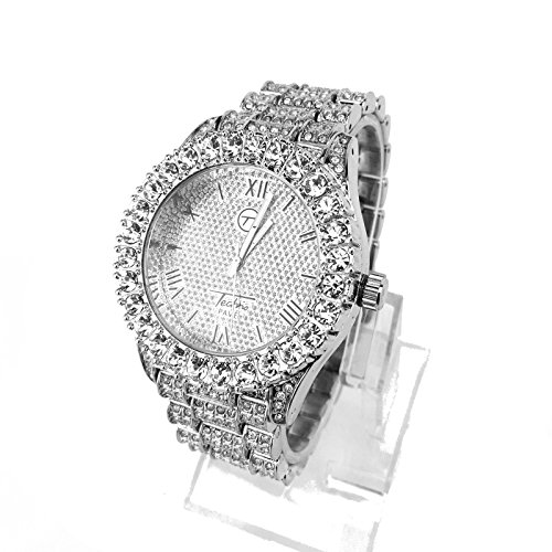White Gold Diamond Watch - 14k White Gold Plated Iced Out Techno Pave Men Watch, Cuban Chain & Bracelet Set (Watch Only)