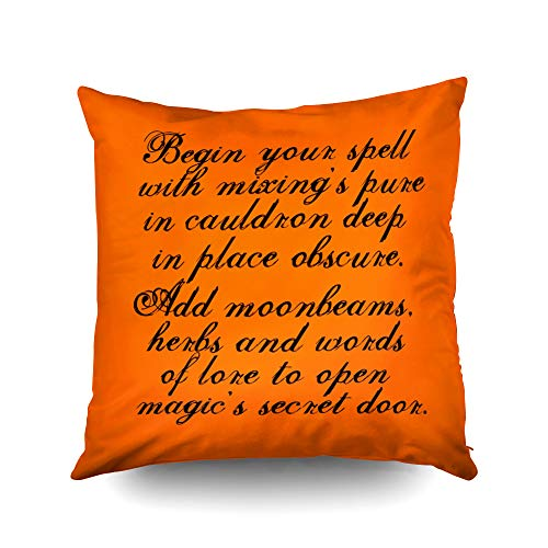 Capsceoll Halloween Reversible Original Poem Decorative Throw Pillow Case 16X16Inch,Home Decoration Pillowcase Zippered Pillow Covers Cushion Cover with Words for Book Lover Worm Sofa Couch -