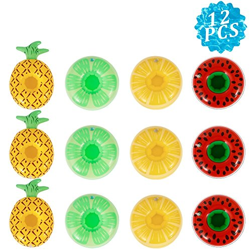 Twister.CK Pool Drink Holder [12 Pack], Drink Floats, Inflatable Drink Holder Coasters (Watermelon, Pineapple, Lemon Shape) for Pool Play, Water Play Toys & Bath Toys for Kids
