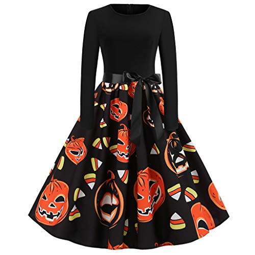 VOWUA Womens Halloween Swing Dresses Vintage Long/Short Sleeve Evening Party Prom Swing 50s A-Line ()