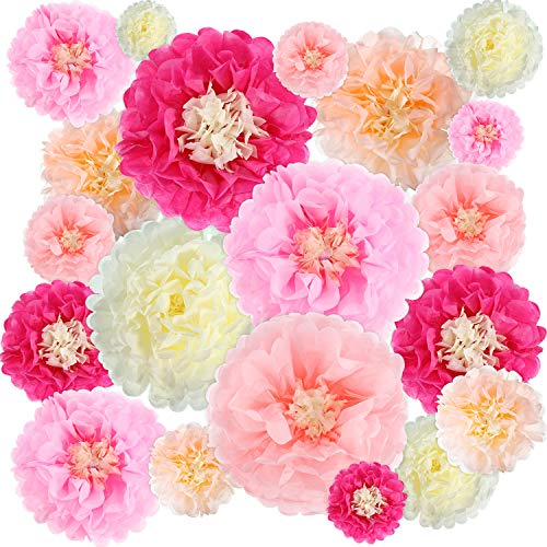 Gejoy 20 Pieces Paper Flower Tissue Paper Chrysanth Flowers DIY Crafting for Wedding Backdrop Nursery Wall Decoration (Color Set 1) ()