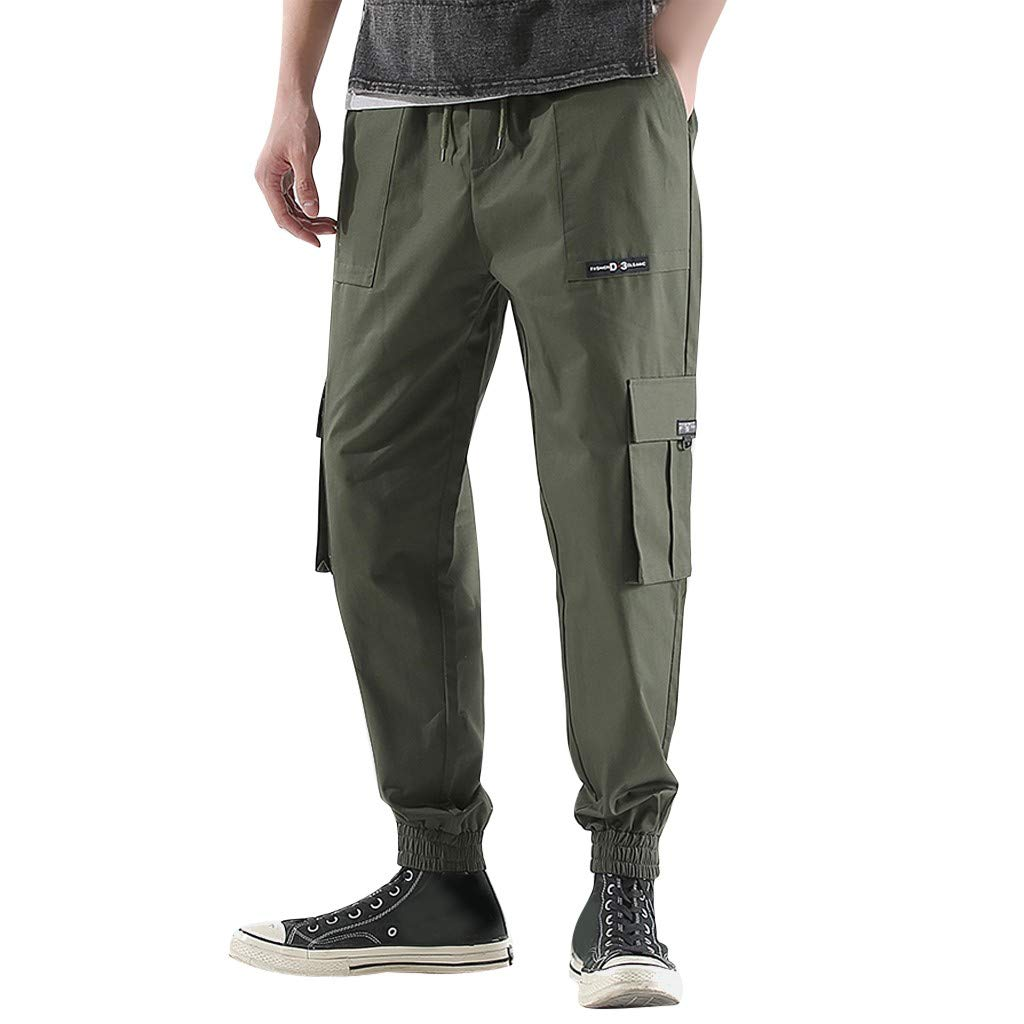 ZOMUSAR Mens Spring Antumn Fashion Retro Solid Color Multi-Pocket Long Pants Trousers for Men Army Green by ZOMUSAR