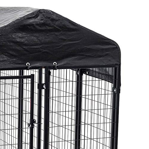 Heavy Duty Dog Cage - Lucky Dog Outdoor Pet Playpen - This Pet Cage is Perfect For Containing Small Dogs and Animals. Included is a Roof and Water-Resistant Cover (4'W x 8'L x 6'H)