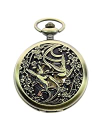 ZIJAE Double Phoenix Retro Vintage Bronze Mechanical Hand Wind Up Men's Pocket Watch with Chain