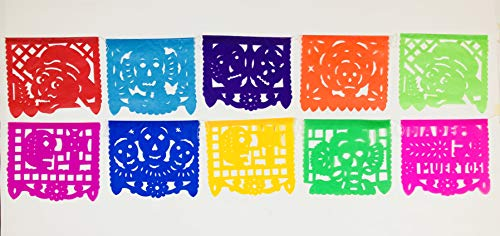 Dia De Los Muertos Projects (Colorful Dia de Muertos decoration Small Size 2 Pack Tissue Paper Mexican Papel Picado)