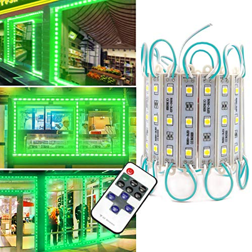 Storefront Lights, Pomelotree 3 Led 40PCS 5050 Super Bright LED Module Lights Waterproof Decorative Light with Tape Adhesive for Store Window Lighting and Advertising Signs (2 Pack) (Green)