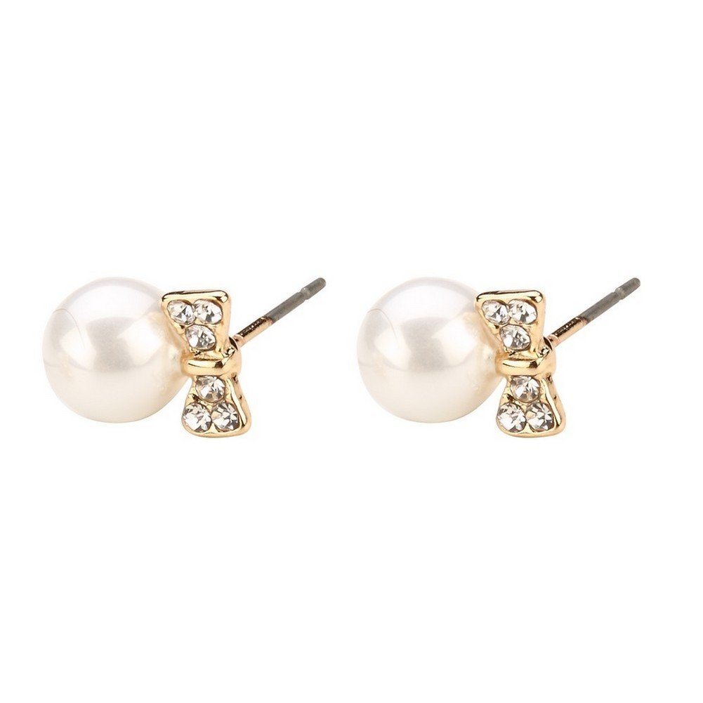 Stud Earring Gold /& Cream Bow With Pearl Bead Made With Crystal Glass by JOE COOL