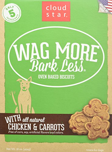 Cloud Star Wag More Bark Less Oven Baked Biscuits Dog Treats with Natural Chicken & Carrots 16 oz (Biscuits Best Cheese)