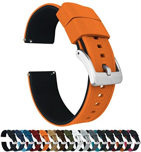 Barton Elite Silicone Watch Bands - Quick Release - Choose Strap Color & Width - Pumpkin Orange/Black 22mm