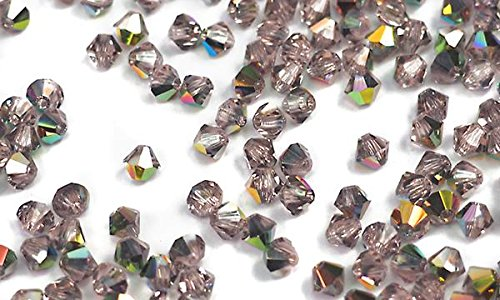 6mm Rosaline Vitrail coated (Vintage Rose Vitrail), Czech MC Bicone Beads (Rondell, Diamond Shape Crystals), 1 gross = 144 pieces