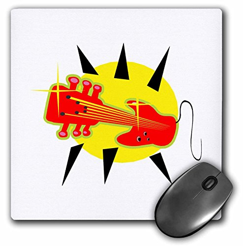 (3dRose Susans Zoo Crew Music Instrument Guitar - guitar hybrid headstock up red - MousePad)