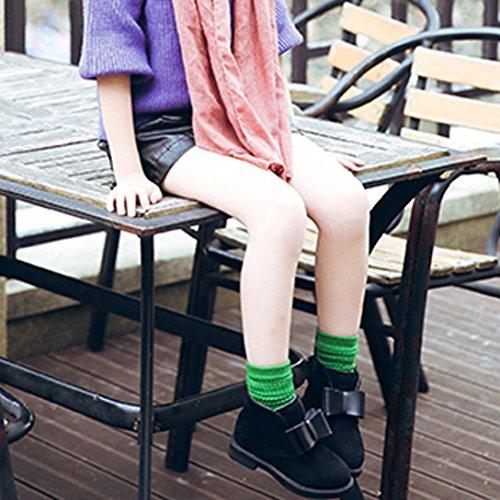 Transer® Kinder Stiefeletten Mädchen Kleinkind Laufen Casual Warm Herbst Winter Schuhe mit Blowknot Scheuern Martin Stiefel Schwarz