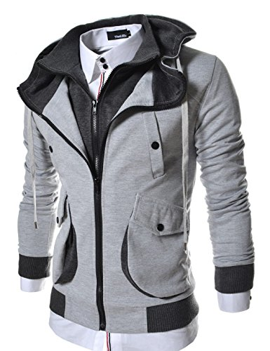 LCJ10-TheLees-Mens-Casual-Slim-Fit-Hoodies-Cotton-Long-sleeve-solid-Jacket