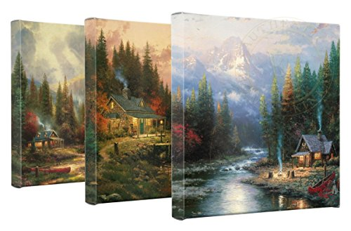 Thomas Kinkade End Of A Perfect Day Set of 3 - 14 x 14 Gallery Wrapped Canvas (Autumn Kinkade Thomas)