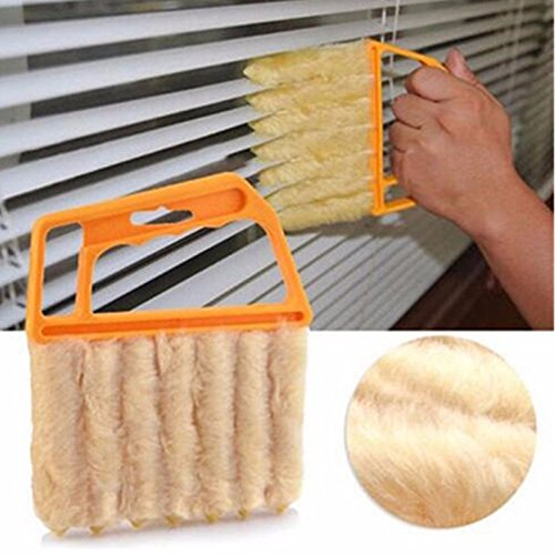 Oval Duster Brush (Money coming shop Useful Microfiber Window cleaning brush air Conditioner Duster cleaner with washable venetian blind blade cleaning cloth t)