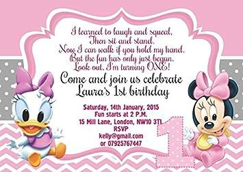 Personalisierbare Karten Fu0026uuml;r Kinder Geburtstag, Einladungen Oder  Danksagungen, Baby Minnie