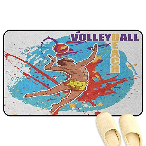 homecoco Beach Bathroom Mats Rubber Non Slip Vector Illustration of a Man Serving an Overhead Ball in Beach Volley Print Sky Blue and Red 3D Digital Printing Mat W47 x L59 INCH