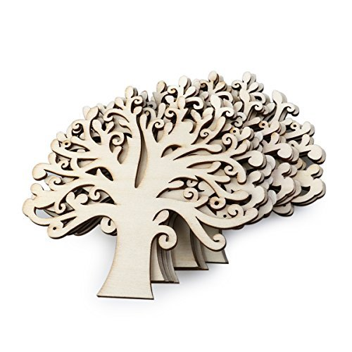 UEETEK 10pcs Family Tree Wood Cutout Blank Wooden Embellishments for DIY Crafts (Wood Color)]()