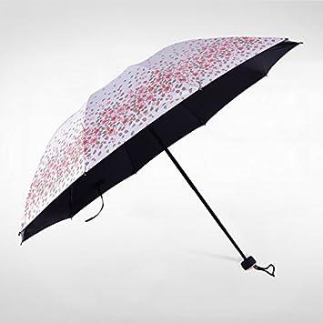 Sasan Eland venta protector solar UV de resorte de caucho negro hembra paraguas plegable de doble