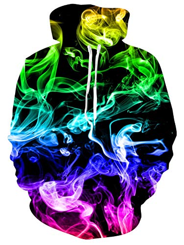 (RAISEVERN Unisex 3D Colorful Smoke Painting Design Print Hipster Novelty Drawstring Pocket Pullover Hoodie Sweatshirt for Teens)