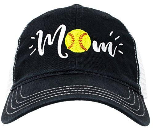 Ann Arbor T-shirt Co. Softball Mom Hat   Cute Team Color Fan Cap for Women Black Red Blue Green Purple - Black ()