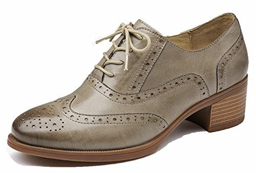 Front Grey Leather Mid Lace Heel up Flat Vintage lite Shoes Close Oxfords Wingtip U Perforated Women's Oxford FaqRBFwz
