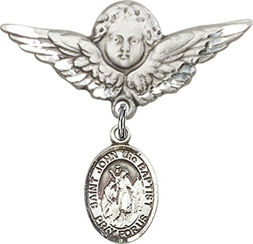 Sterling Silver Baby Badge Guardian Angel Pin with Saint John the Baptist Charm, 1 1/4 Inch