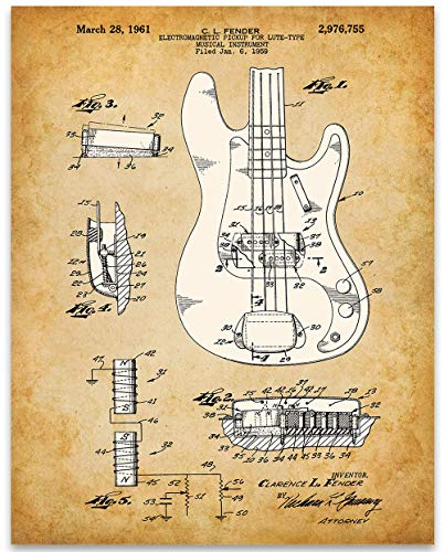 (1961 Fender Precision Bass Guitar Poster Patent - 11x14 Unframed Patent Print - Great Gift Under $15 for Guitar Players)