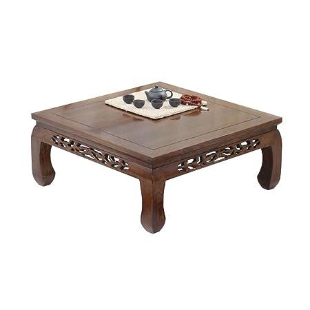 Mesa de centro Mesa de madera maciza Cuadrada Balcón Tallada ...