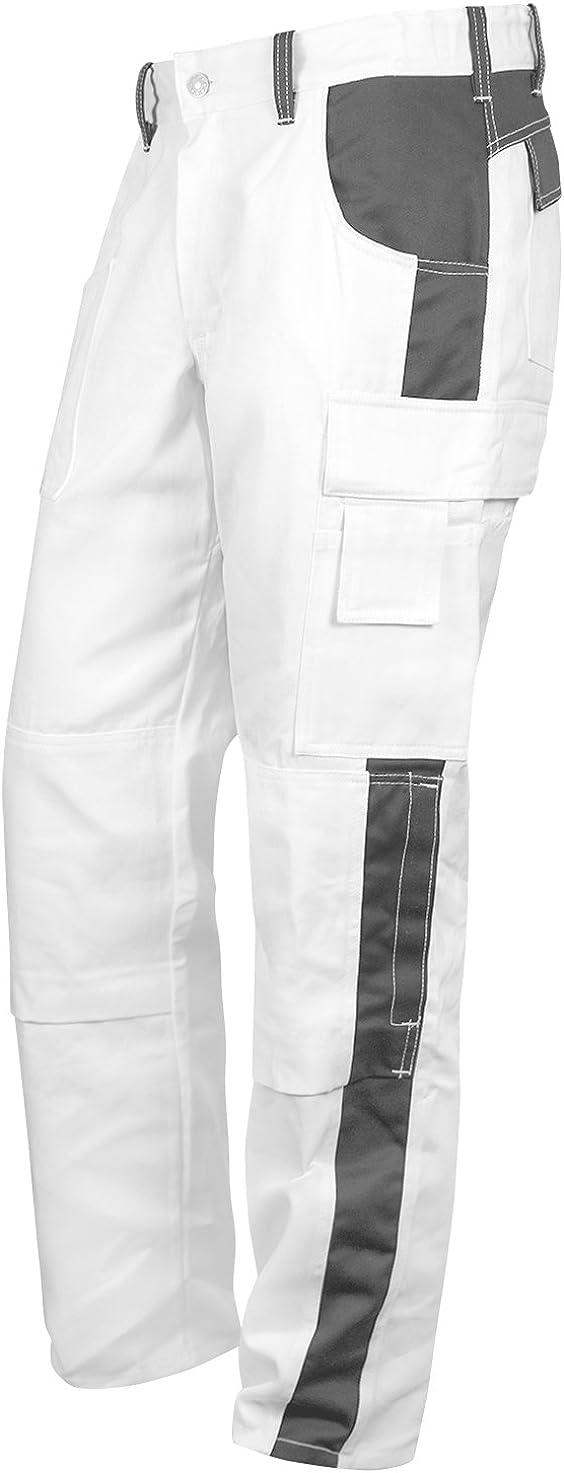 Tasca per Ginocchiere Pantaloni Elastici da Lavoro Bianco Pantaloni Pittore Stuckateur Addetto alle Pulizie Cerniera Lampo YKK Bottone YKK strongAnt/® Fatto nellUE KERMEN