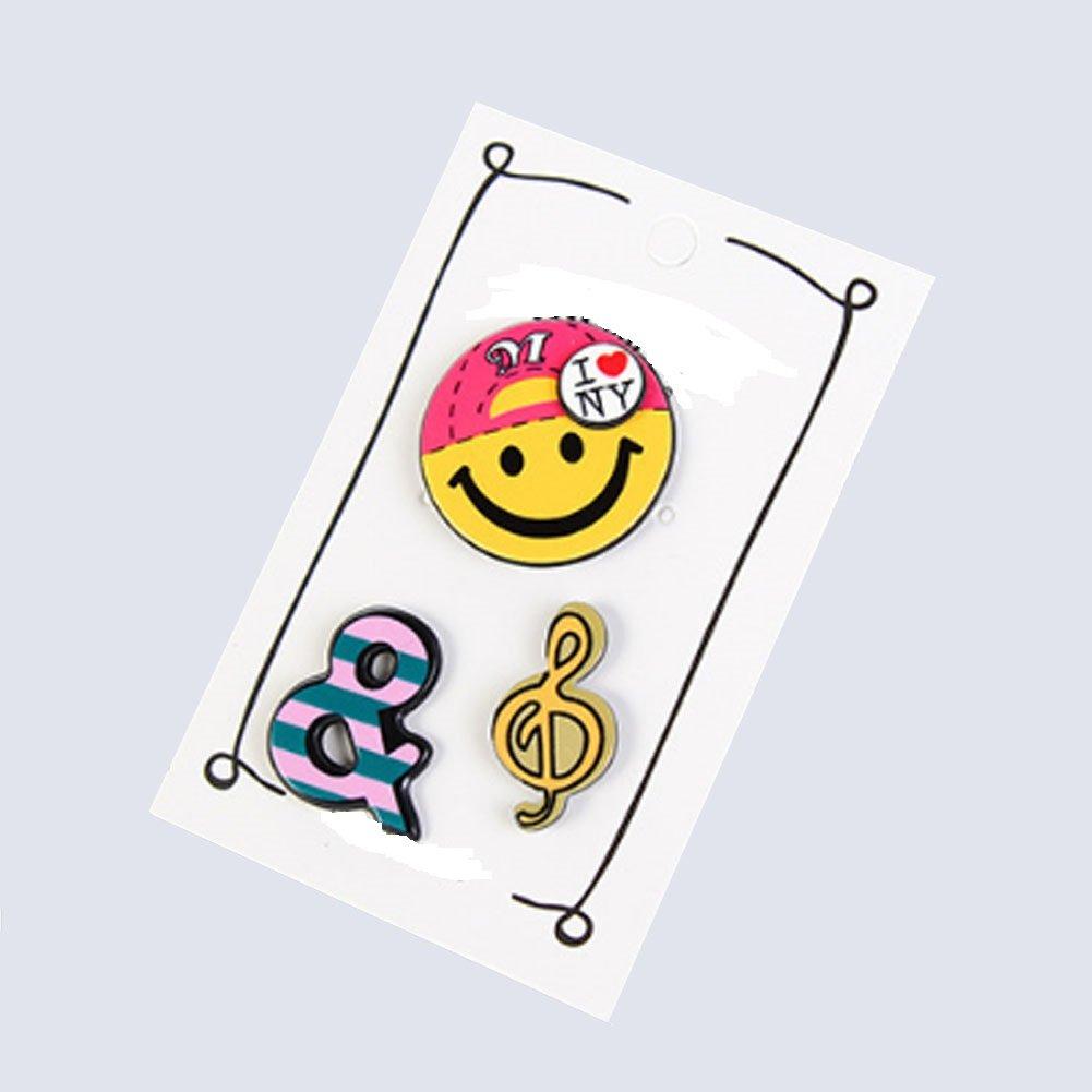 3 Pines esmaltados broche clip emoticono musica para ...