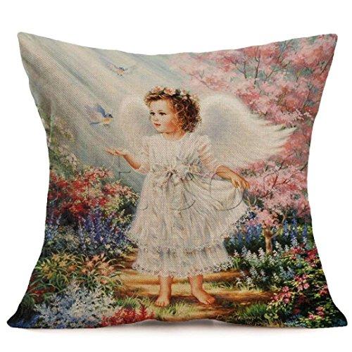 "Sothread Christmas Angel Throw Pillow Cover Square Decor Cushion Cover PillowCase 18"" (I)"