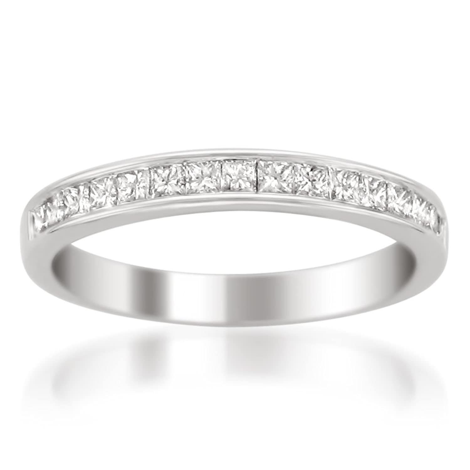 14k White Gold Princess-cut Diamond 16-stone Bridal Wedding Band Ring (1/2 cttw, H-I, SI2-I1)