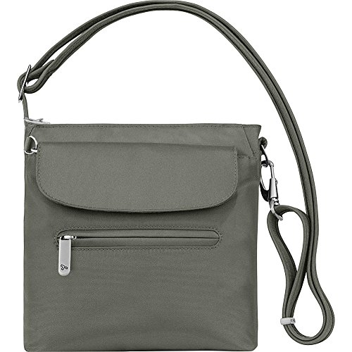 Travel Shoulder Bag Secure - Travelon Anti-Theft Classic Mini Shoulder Bag (Pewter)