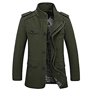 Zicac Men's Spring Fall Thin Cotton Jacket MD-Long Windbreaker Trench Coat Plus Size