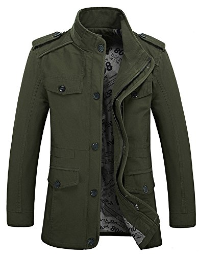 Zicac Men's Spring Fall Thin Cotton Jacket MD-Long Windbreaker Trench Coat Plus Size(US:3XL/Asia Tag 6XL, Army Green)