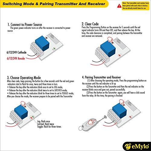 eMylo DC 12V 1 Channel 433Mhz RF Wireless Relay Remote