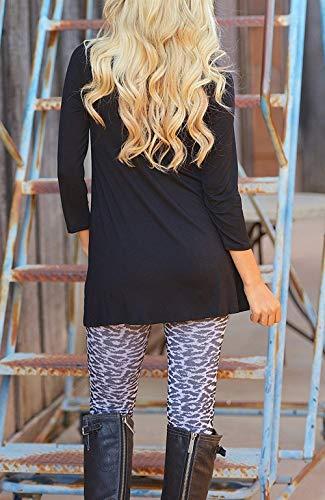 Abbigliamento Rotondo Jumper Autunno Donna Camicia Shirts Lunga Tops Collo Casual Longshirt Bluse 1 Huixin Camicetta A Asimmetrico Monocromo Primaverile Schwarz Lunghe Maniche Felpe 4wP85xOq