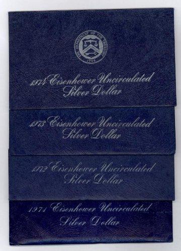 Set of 4 Blue Ike Silver Dollars 1971-1974