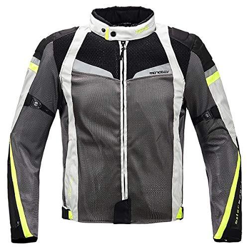 メンズバイクライディングスーツ FidgetFidget オートバイの普及した夏の網の換気保護ジャケットかズボン トップスグレーホワイト XXXL B07T64JJZT トップスグレーホワイト XXXL