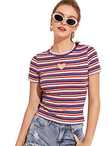 (Verdusa Women's Heart Cut Front Round Neck Short Sleeve Striped Tee Multicolor M)