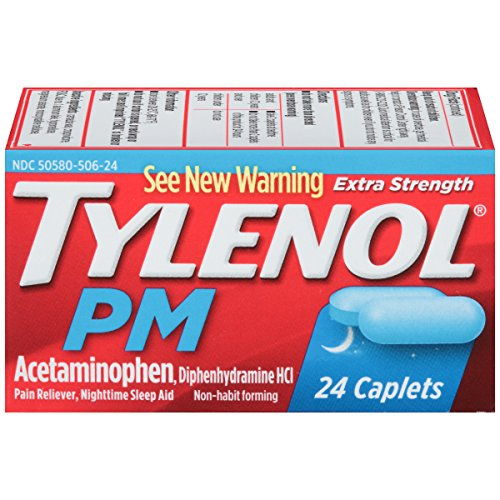 Tylenol PM Extra Strength Pain Reliever & Sleep Aid Caplets with 500 mg of Acetaminophen, 24 ct