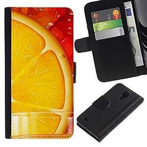 KLONGSHOP / Tirón de la caja Cartera de cuero con ranuras para tarjetas - Orange Juice Fresh Fruit Food Healthy Red - Samsung Galaxy S4 IV I9500
